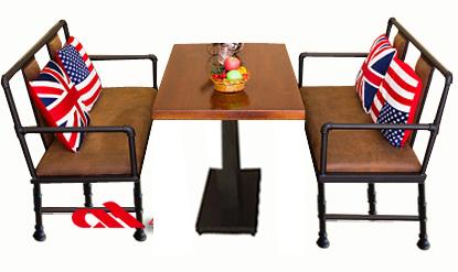 铁艺实木餐桌椅组合zh003定制电话400-6962-114